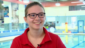 Shelby Newkirk speaks to CTV Saskatoon about her world-record-setting swim in the S7 100-metre backstroke at the para-swimming Canadian Open in Toronto.
