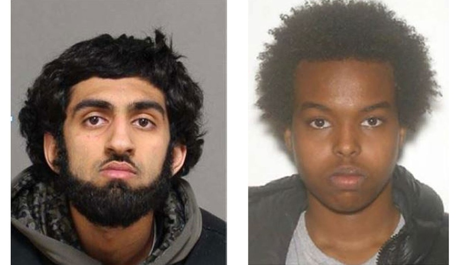 (left to right) Zayd Q. Chaudry, 19, and Yahya Abdirahman Jama, 20, are pictured in this combination of police handout photos distributed Sunday October 8, 2017. (Handout / Toronto police)