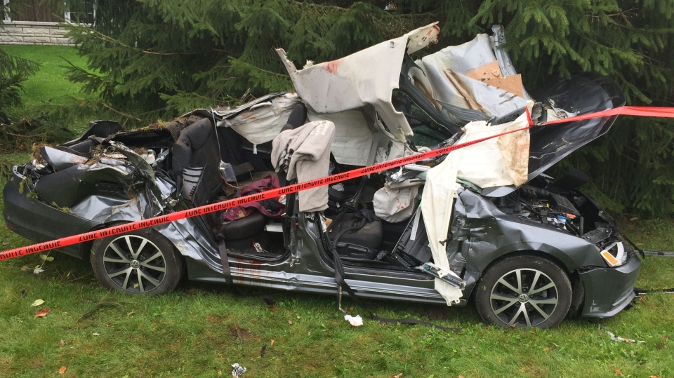 A car driven by a 15-year-old crashed in Joliette, killing two teenage passengers and leaving two others in critical condition. (Photo: CTV Montreal)