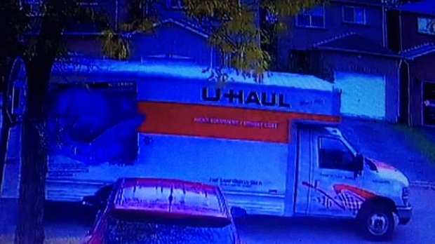 York Regional Police have released this photo of a U-Haul that could be connected to a suspicious death investigation in Markham. (York Regional Police/ Twitter)