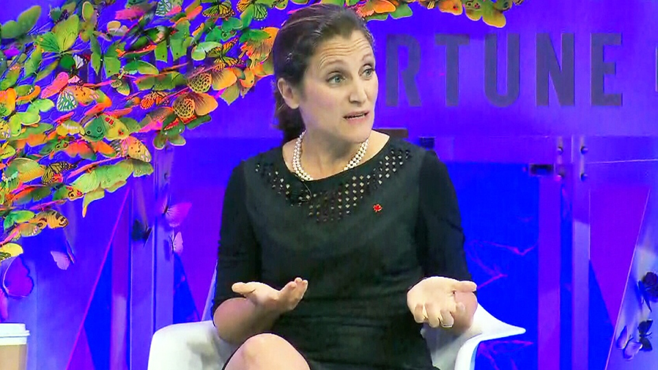 Foreign Affairs Minister Chrystia Freeland speaks at a women-in-business summit organized by Fortune Magazine, in Washington, Tuesday, Oct. 10, 2017.