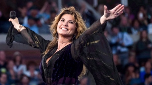 Shania Twain performs at the opening night ceremony of the U.S. Open tennis tournament at the USTA Billie Jean King National Tennis Center on Monday, Aug. 28, 2017, in New York. (AP / Invision / Charles Sykes)