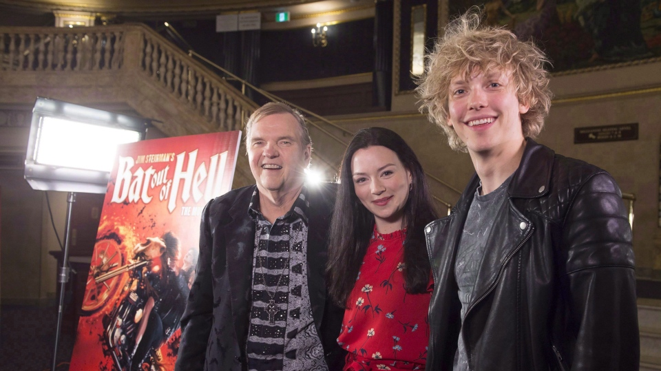 """Meat Loaf (left) meets with lead performers Andrew Polec (right) and Christina Bennington from """"Bat Out of Hell - The Musical,"""" in Toronto on Monday, May 15, 2017. Canadian audiences will be introduced to the smash musical following a sold-out run in Manchester and a stint at London's Coliseum Theatre which opened in June. THE CANADIAN PRESS/Frank Gunn"""