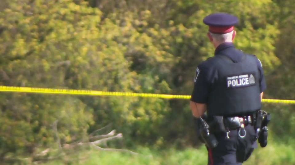 Police investigate after a body was found in the Grand River near Kolb Park in Kitchener on Tuesday, Oct. 10, 2017.