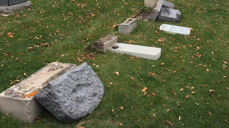 Officials said between 40 and 50 headstones at the Mount Pleasant Municipal Cemetery were damaged in an overnight vandalism spree, a worker discovered the damage on Tuesday, October 10.