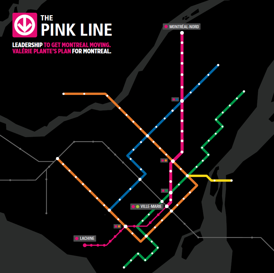 Plante's proposed pink line metro extension would connect Montreal North to Lachine, crossing over eight boroughs at a price point of $5.6 billion. (Photo courtesy of Projet Montreal)