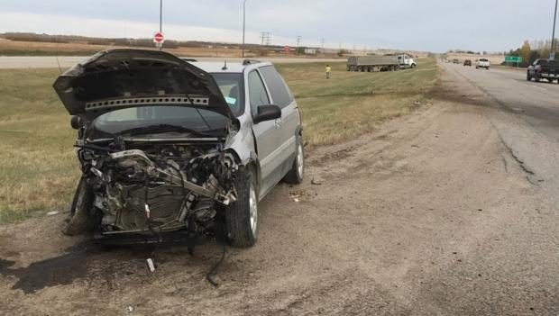 Minivan and semi crash at Highway 5 and Highway 41