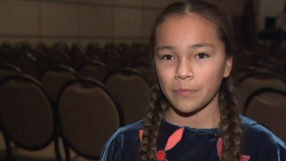 Autumn Peltier speaks after her meeting with Prime Minister Justin Trudeau in December 2016. (APTN)