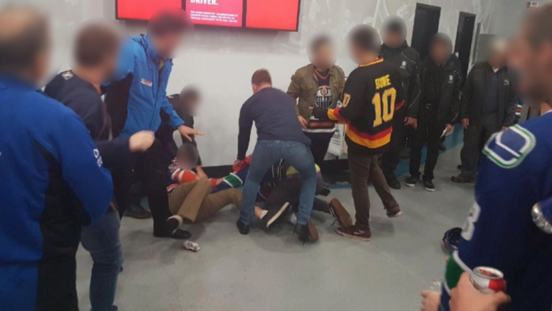 A photo taken by Ryan Pineo shows a fan fight at Rogers Arena on Saturday, Oct. 7, 2017.
