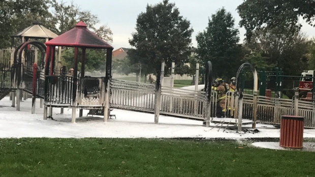 Playground fire at Lacasse Park