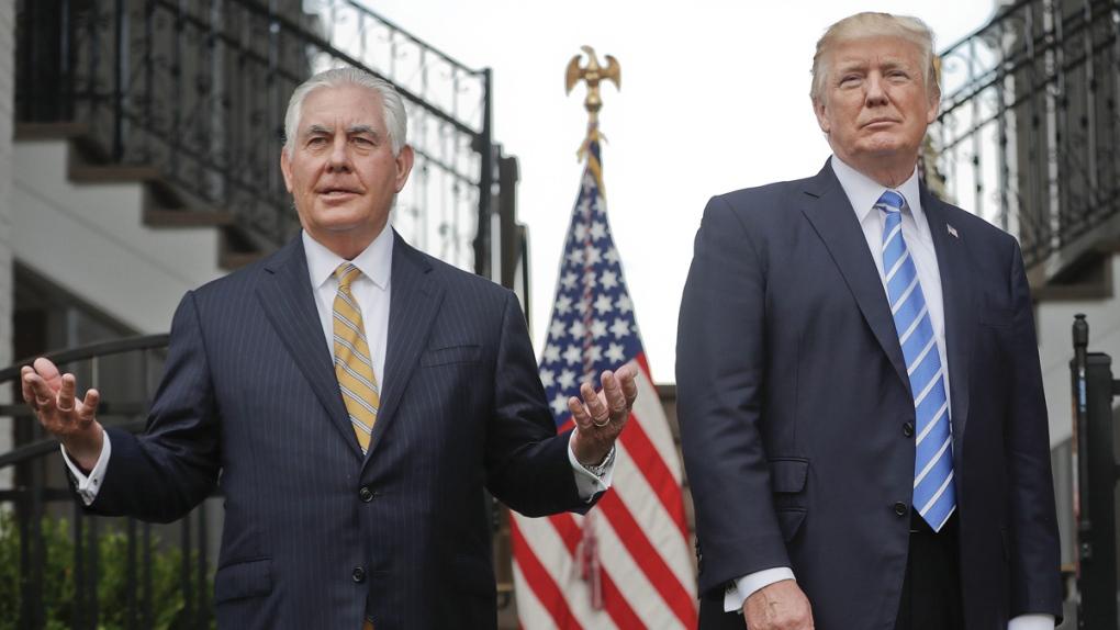 Rex Tillerson, left, with Donald Trump