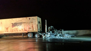 One person suffered critical injuries when a transport truck hit a car on Highway 401 in Puslinch Township. (Marta Czurylowicz / CTV Kitchener)