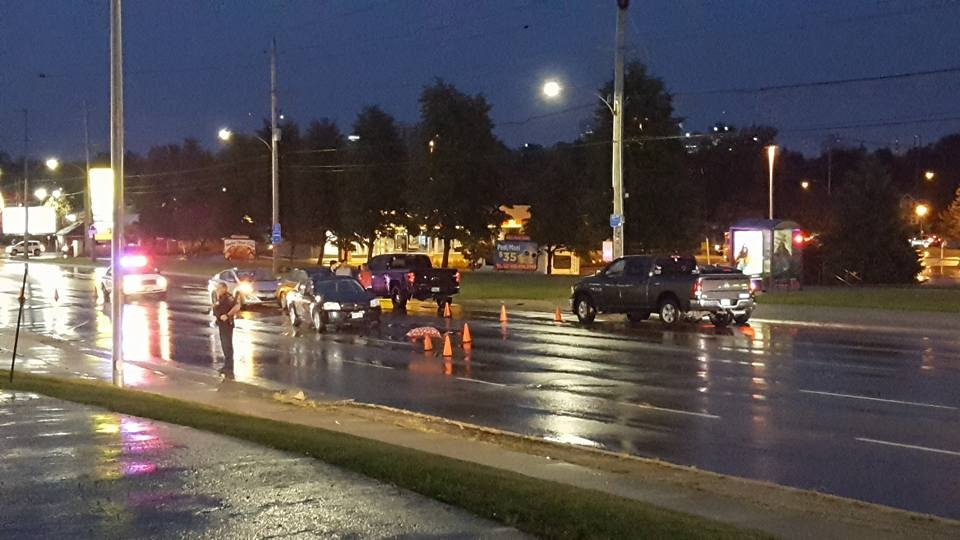Police investigate after a woman was struck and killed by a vehicle on Wharncliffe Road in London, Ont, on Wednesday, October 11, 2017. (Justin Zadorsky / CTV London)