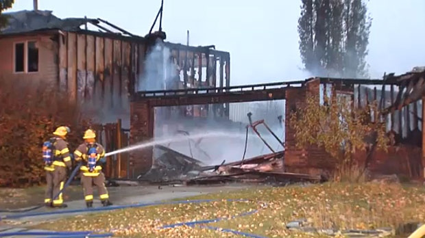 Two homes on Flett Drive in northeast Airdrie were damaged in a large fire on Wednesday morning.