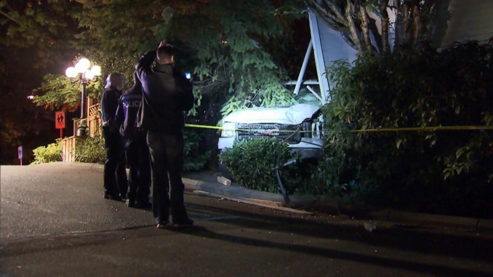 A couple was inside the home when the truck crashed through the wall, but no one was injured. Oct. 10, 2017.