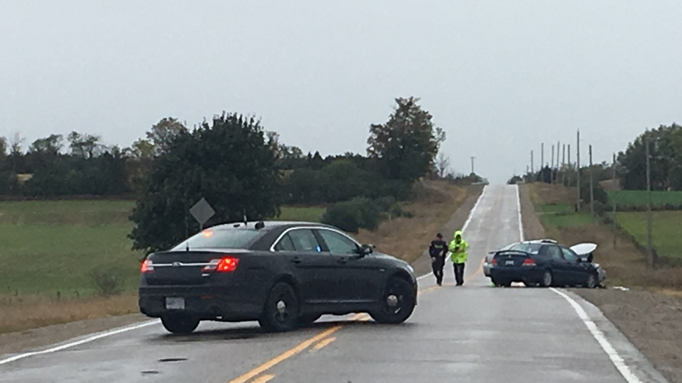 A two-car crash on County Road 35 in Puslinch Township left both drivers with injuries. (Katarina Milicevic / CTV Kitchener)