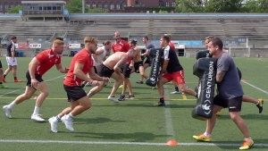 Toronto Wolfpack players practice at Lamport Stadium in Toronto, Wednesday, Sept.6, 2017. (THE CANADIAN PRESS / Neil Davidson)