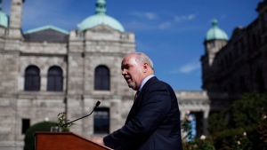 Premier John Horgan speaks to media from the Rose Garden at Legislature in Victoria, B.C., on Wednesday, October 4, 2017. (Chad Hipolito/The Canadian Press)