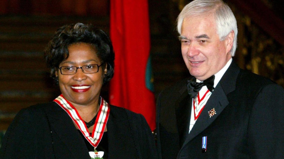 Dr. Avis E. Glaze stands next to the Honourable James K. Bartleman after receiving her Order of Ontario Award in Toronto on Wednesday, March 31, 2004. (THE CANADIAN PRESS / Tobin Grimshaw)