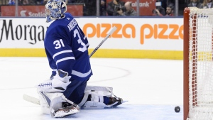 Toronto Maple Leafs goalie Frederik Andersen reacts after giving up a goal during third period NHL hockey action against the New Jersey Devils in Toronto on Wednesday, Oct. 11, 2017. (Nathan Denette / THE CANADIAN PRESS)