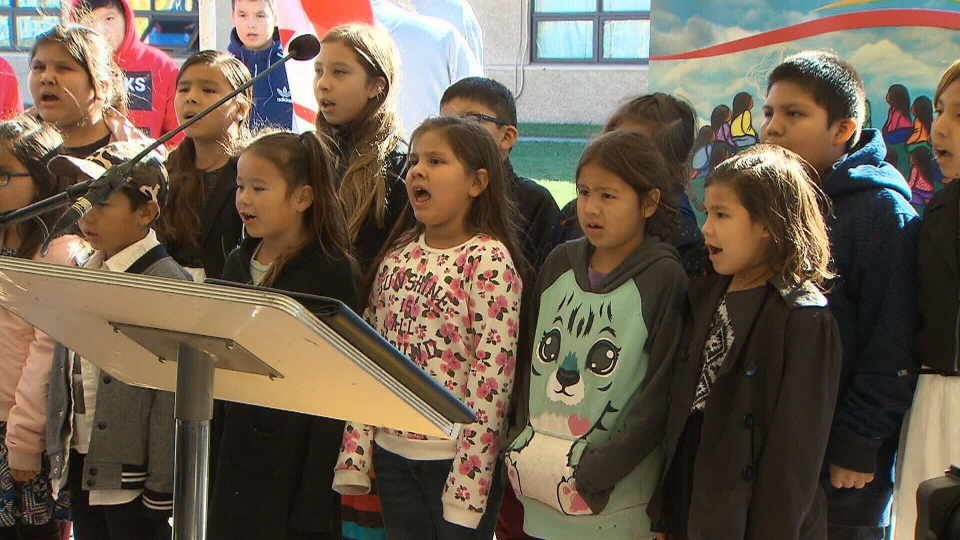 Schoolchildren sing at the grand opening of the new Manitoba First Nations School System on the Brokenhead Ojibway Nation, in Scanterbury, Man., Wednesday, Oct. 11, 2017.