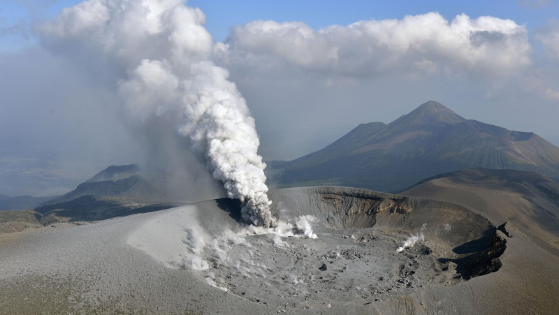 Volcano eruption in Japan dumps ash on 4 cities, towns