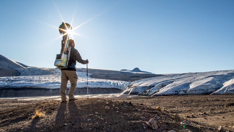 A Parks Canada staff member collecting Street View imagery near the Air Force Glacier, Quttinirpaaq National Park (Parks Canada / Ryan Bray)