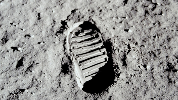 This 1969 photo released by NASA shows a boot print made by astronaut Buzz Aldrin on the surface of the moon during the Apollo 11 mission. (Buzz Aldrin/NASA via AP)