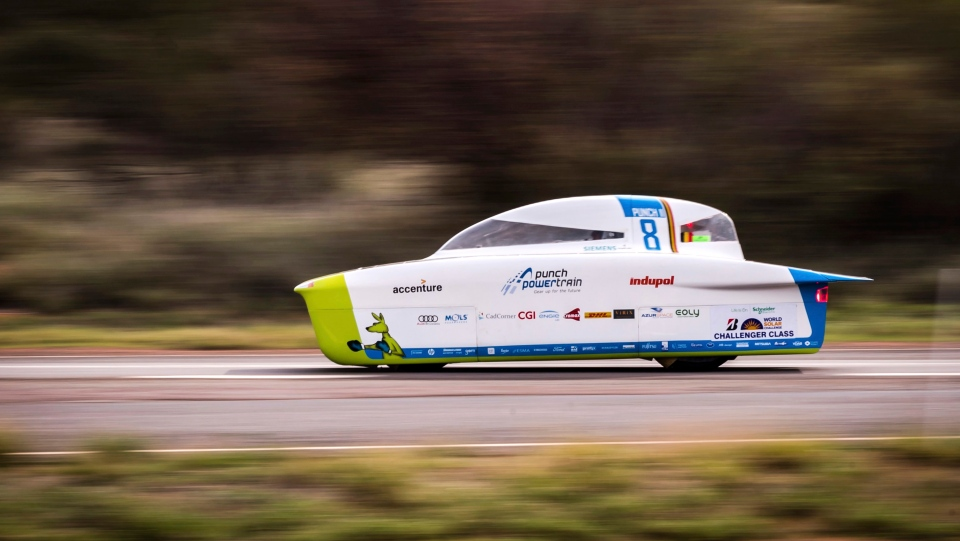 In this Tuesday, Oct. 10, 2017, file photo, the Punch Powertrain Solar Team car from Belgium competes during the second race day of the 2017 World Solar Challenge in Kulgera, Australia.(AP Photo/Geert Vanden Wijngaert, File)