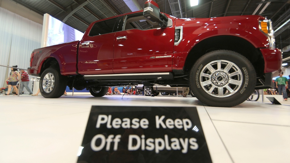 In this Monday, Oct. 9, 2017, photo, a Ford F-Series Super Duty Limited sits on display during the State Fair of Texas in Dallas. (AP Photo/LM Otero)