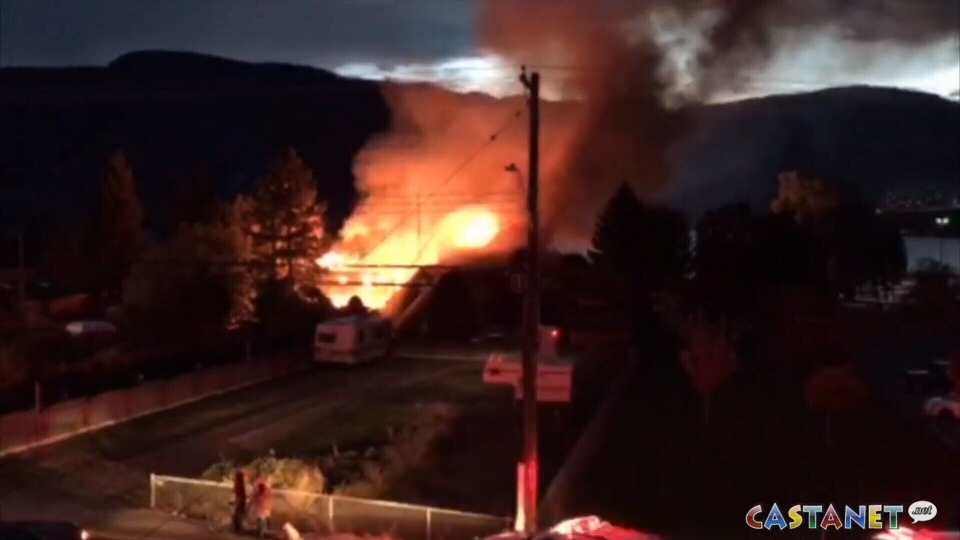 A fire that broke out in Penticton near Skaha Lake destroyed two homes Wednesday. A 95-year-old woman is also unaccounted for. (Castanet)