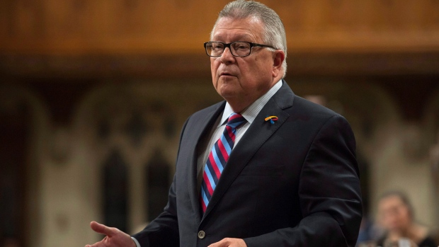 Public Safety and Emergency Preparedness Minister Ralph Goodale responds to a question during Question Period in the House of Commons, in Ottawa on Friday, October 6, 2017. (Adrian Wyld / THE CANADIAN PRESS)