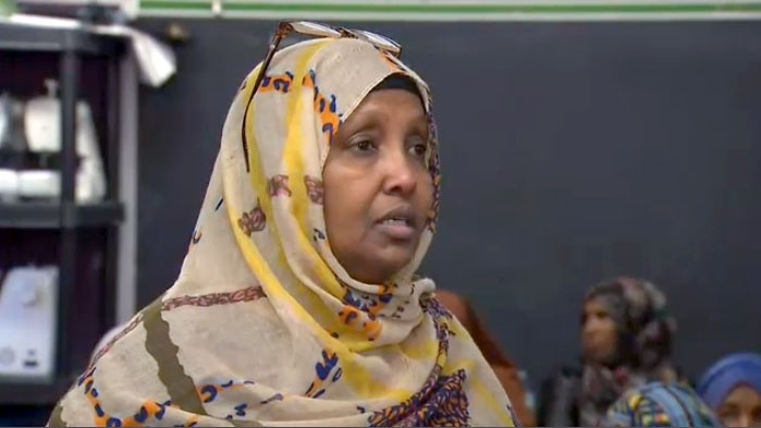 Farhia Warsame speaks to reporters at a news conference on October 12, 2017.