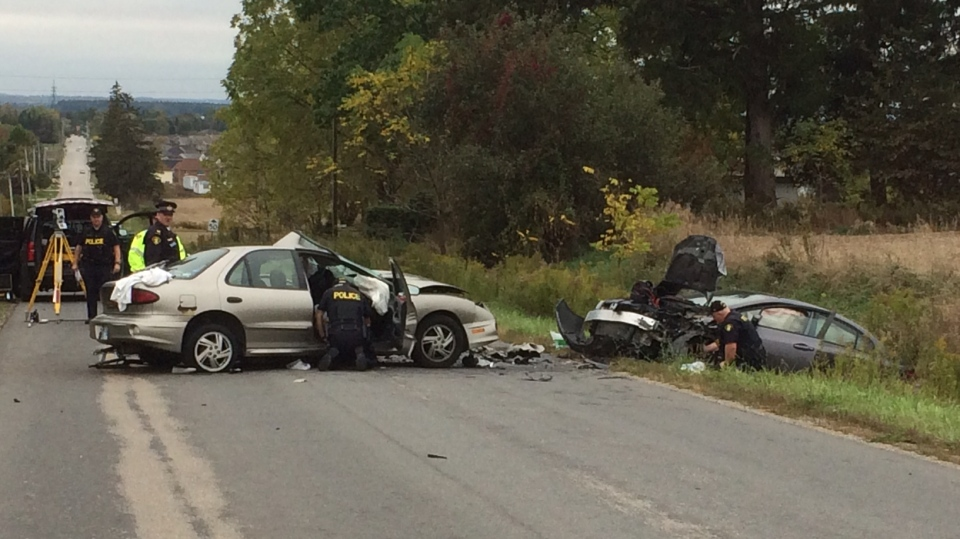 The OPP investigates a fatal crash on Scotch Line, north of Alliston, Ont. on Thursday, Oct. 12, 2017. (Don Wright/ CTV Barrie)