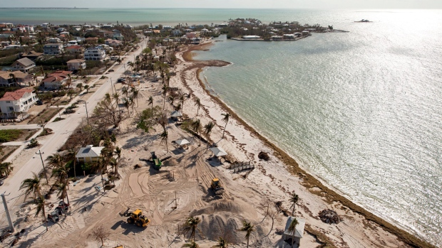 In this aerial photo provided by the Florida Keys News Bureau, workers use front-end loaders to restore Sombrero Beach, Sunday, Oct. 1, 2017, in Marathon, Fla. (Andy Newman / Florida Keys News Bureau via AP)