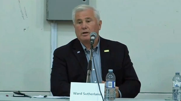 Ward Sutherland, Ward 1 candidate, addressed the crowd at a forum at the Tuscany Club on October 11, 2017 (image: 2017 Ward 1 - All Candidates Forum)