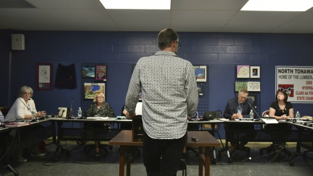 William Crago speaks before the North Tonawanda school board in North Tonawanda, N.Y., to focus their attention on the issue of bullying at the middle school, on June 7, 2017. (Joseph Kissel / Niagara News Source)