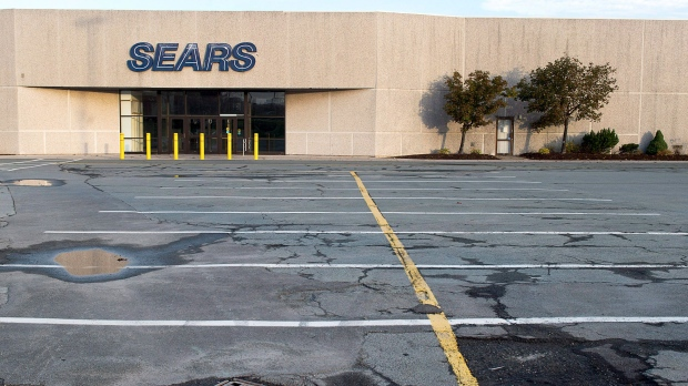 A closed Sears store is seen in Dartmouth, N.S. on Wednesday, Oct. 11, 2017. Sears Canada Inc. has decided to shut its doors and is seeking approval to liquidate its roughly 130 remaining store, leaving another 12,000 employees across the country without a job. THE CANADIAN PRESS/Andrew Vaughan