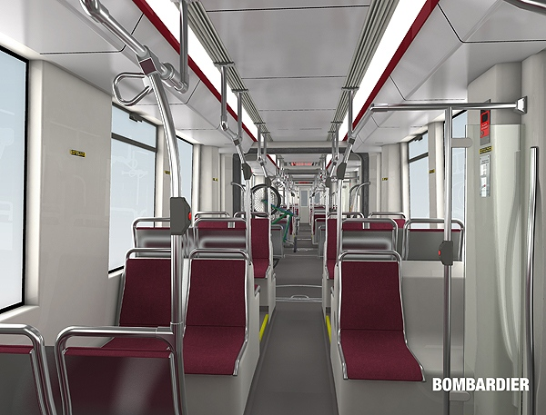 The interior of a new LRV streetcar is seen in this composite image provided by the TTC. (CP24/TTC Handout)
