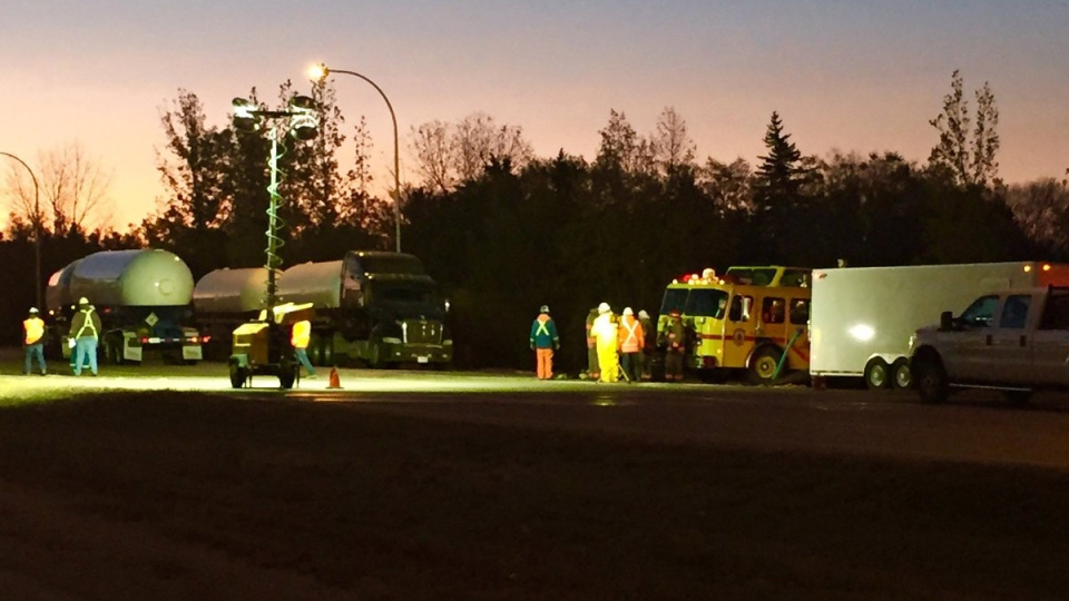 Crews work to clear the scene on Saskatoon's College Drive early Friday, Oct. 13, 2017, after a tanker carrying ammonia gas rolled one day earlier. (Janella Hamilton/CTV Saskatoon)