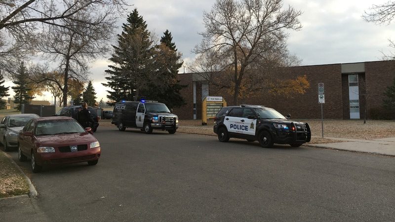 Police could be seen outside of Steele Heights Junior High School on October 13.