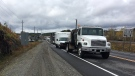A look at the traffic backed up on Highway 17 in Wahnapitae on Friday afternoon. (CallamRodya/CTVNorthernOntario)
