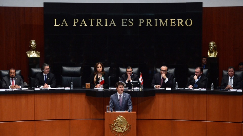 Prime Minister Justin Trudeau delivers a speech to the Mexican Senate in Mexico City on Friday, Oct. 13, 2017. THE CANADIAN PRESS/Sean Kilpatrick