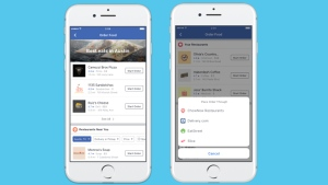 The new Facebook feature allows U.S. users to order take-out or delivery from certain restaurants. (Source: Facebook)