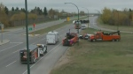 College Drive reopens after tanker rollover