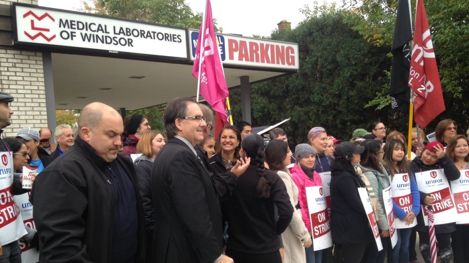 NDP politicians joined union officials to show their support for striking workers employed by Medical Laboratories of Windsor on Friday, Oct. 13, 2017. (Stefanie Masotti / CTV Windsor)