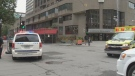 A man in his 30s has died after falling from a downtown building on Saturday.
