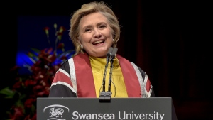 U.S. politician Hillary Rodham Clinton delivers a speech during a ceremony where she received a Honorary Doctorate at Swansea University, in Swansea, Wales, Saturday, Oct. 14, 2017. (Ben Birchall/PA via AP)