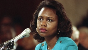 FILE - This Oct. 11, 1991 file photo shows University of Oklahoma Law Professor Anita Hill testifying before the Senate Judiciary Committee on Capitol Hill in Washington. (AP Photo, File)