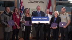 "Premier John Horgan announces the ""Above and Beyond"" awards in Kamloops, B.C. on Saturday, Oct. 14, 2017."